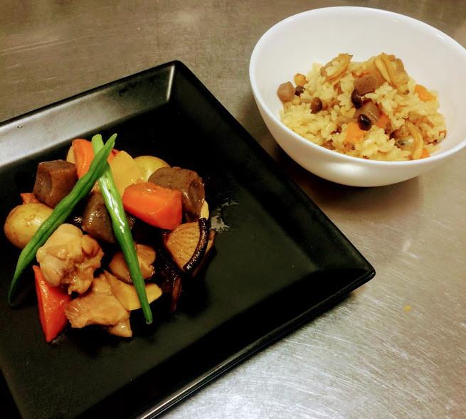 速習筑前煮と炊き込みご飯.JPG